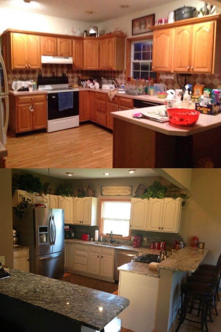 Remodeled The Kitchen ! Painted Cabinets, New Hardware, Recessed Sink,oil  Rubbed Bronze