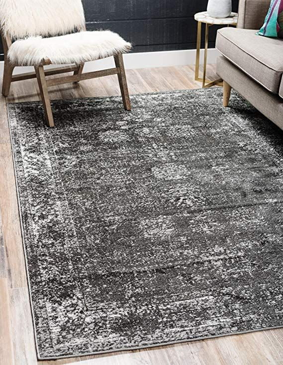 Unique Loom Sofia Collection Traditional Vintage Dark Gray Home Decor Area Rug 5 X 8 Black Area Rugs Grey Area Rug Area Rugs