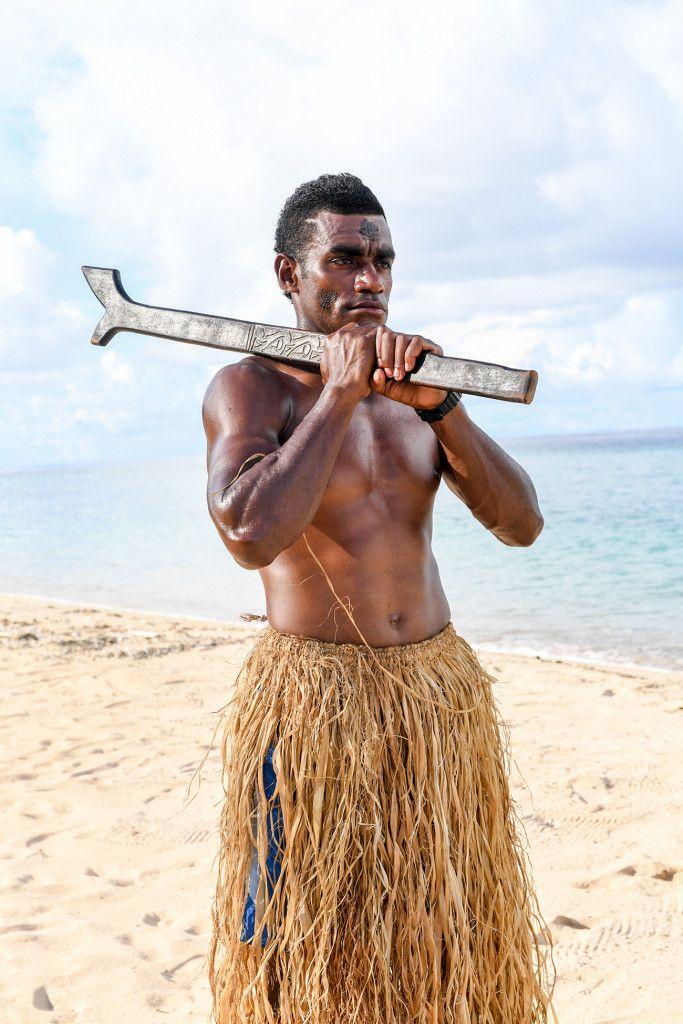 Portrait of a Fijian warrior Paradise Cove Island Resort, Yasawa, Fiji. Photographed by Anais Photography.