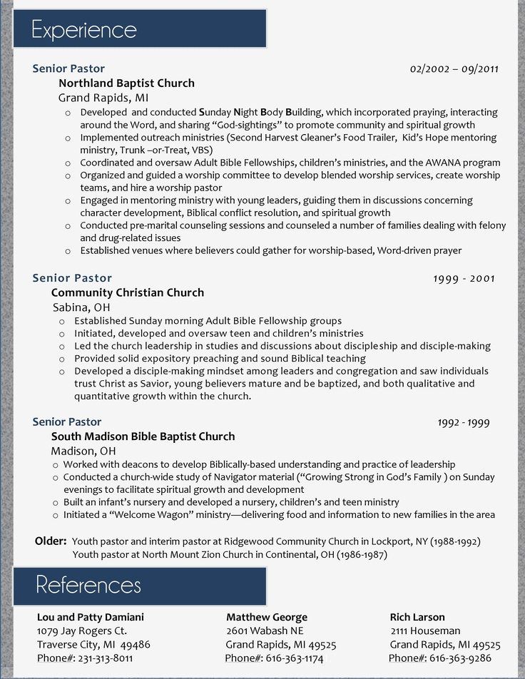 Best ResumeS Images On   Pastor Sample Resume And