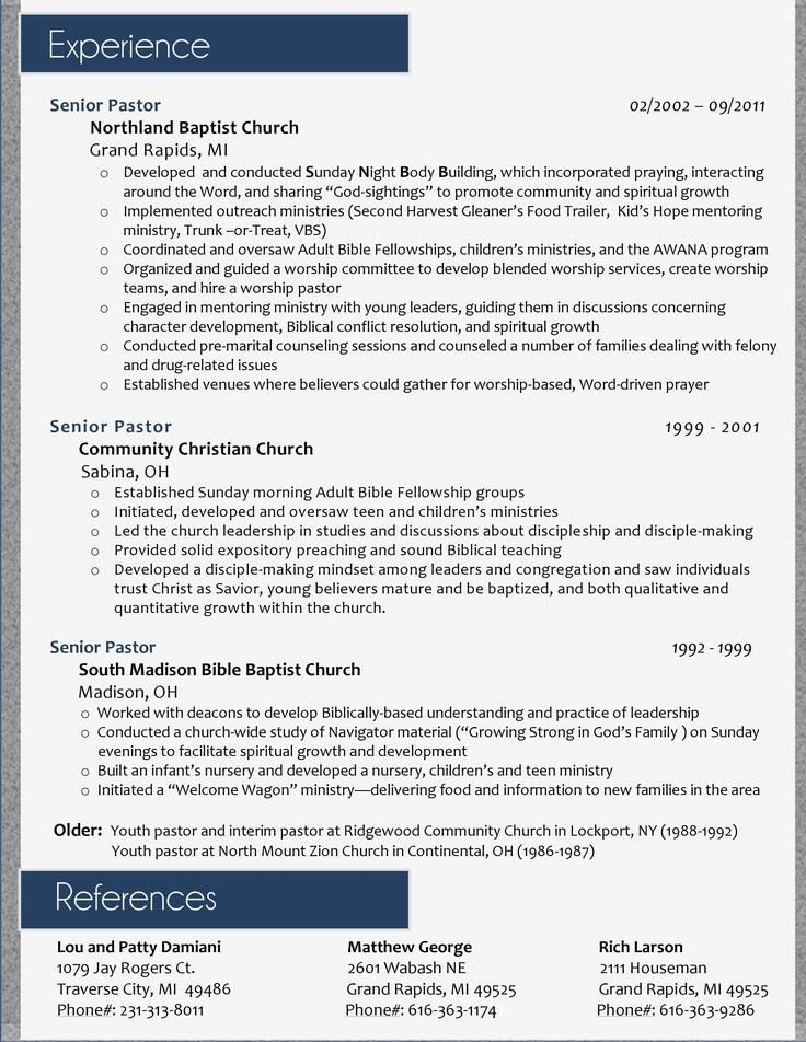 7 Best Resume's Images On Pinterest Pastor Sample