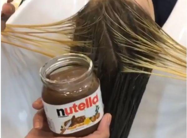 Teñirse el cabello con nutella y leche condensada #nutella