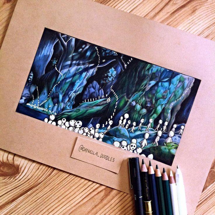 Kodamas (tree spirits) from Princess Mononoke by Daniella Attfield.
