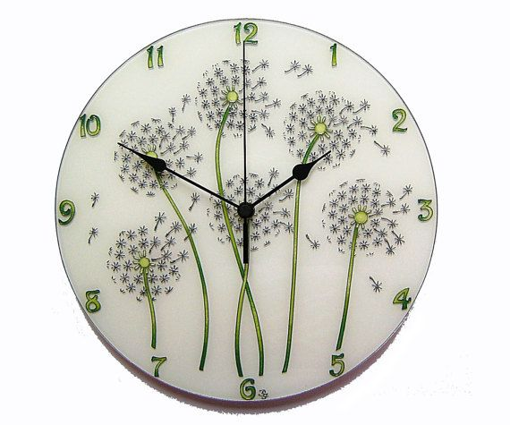 Dandelion Large, Silent Wall Clock, White wall decor, Painted Glass wall clock, Dandelion wall decor