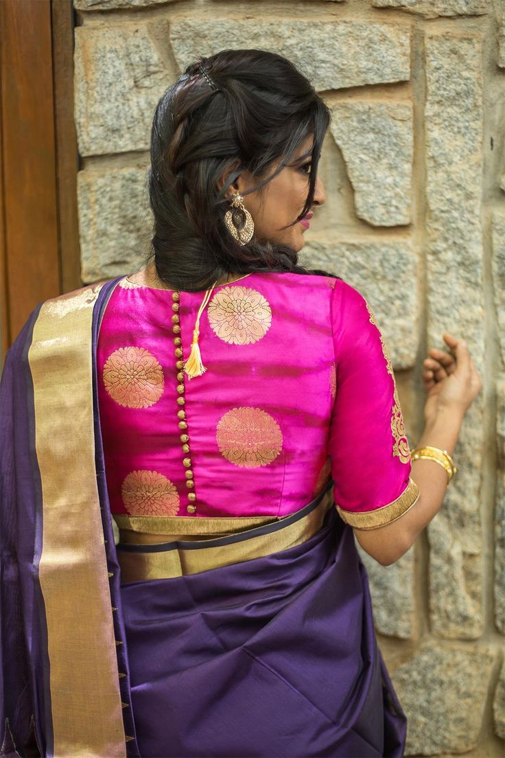 Pinkish purple gold Shibori brocade blouse with rich details #blouse #details #houseofblouse