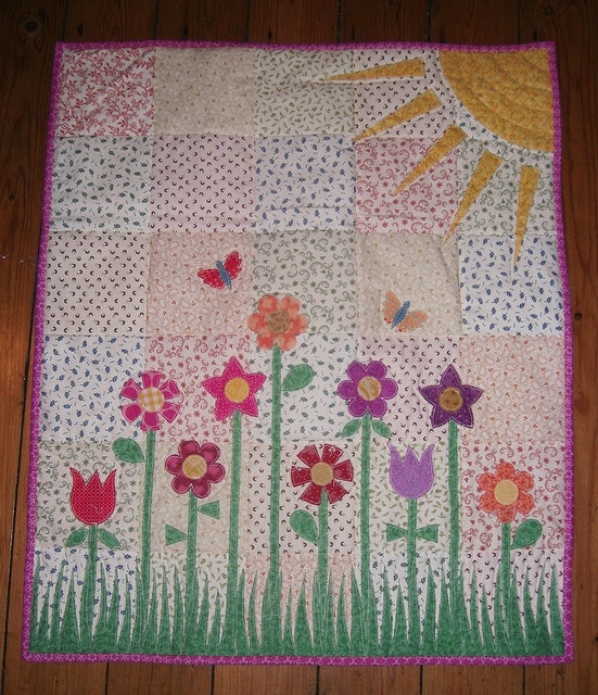 Cute Girls Quilt Flowers And Sunshine Cute Pic On