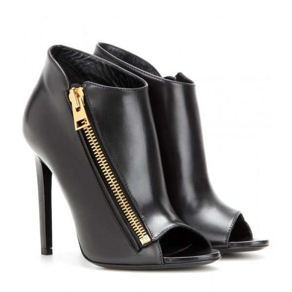 Tom Ford Open-Toe Leather Ankle Boots ($1,205) ❤ liked on Polyvore featuring shoes, boots, ankle booties, heels, black, leather booties, black ankle booties, black ankle boots, black boots et short leather boots