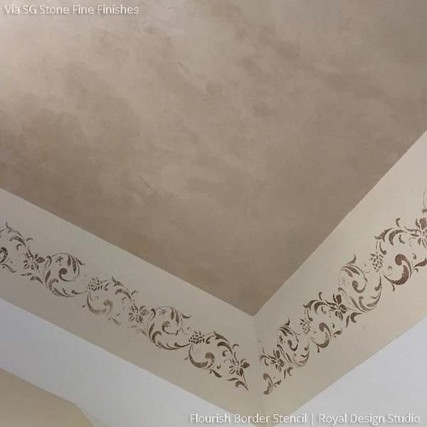 Paint a border of flowers and leaves onto your walls or furniture. Our Flourish Border Stencils accentuates the romance and femininity of the flowing pattern. D