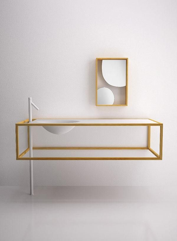 Washbasin in wood and glass nendo