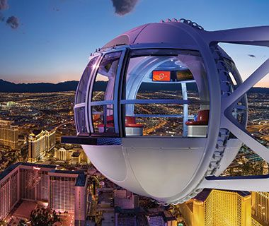High Roller, Las Vegas The Ferris wheel's 28 glass pods can each hold up to 40 passengers for a 30-minute rotation. And, cocktails can be brought aboard.