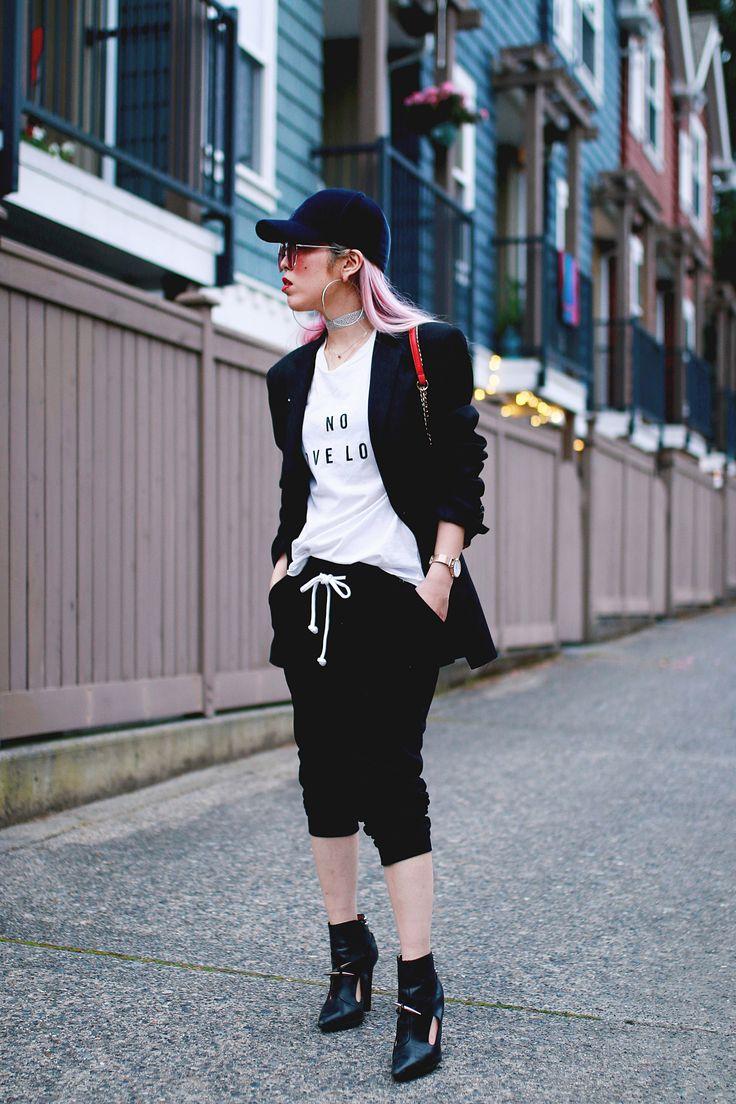 Sweatpants in 3 Ways  #LOOKBOOK #outfitinspiration #seattleblogger #bloggerstyle #saintlaurent #ankleboots #whitetshirt #joggers #sweatpants #blogpost #blogger #springfashion #croppedtop #styleblogger #fashionblogger #streetfashion #streetstyle #petitefashion #pinkhair