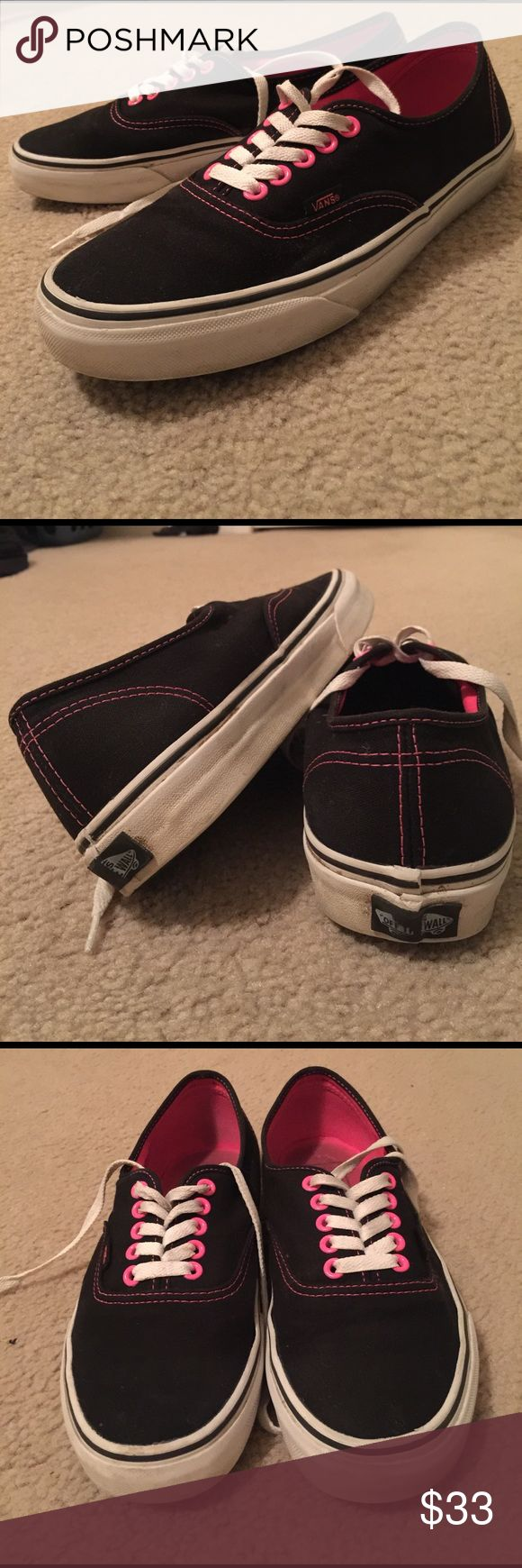 Vans authentic black and pink Black and pink vans. Women's size 9, only worn a few times🌸🌸 Vans Shoes Sneakers