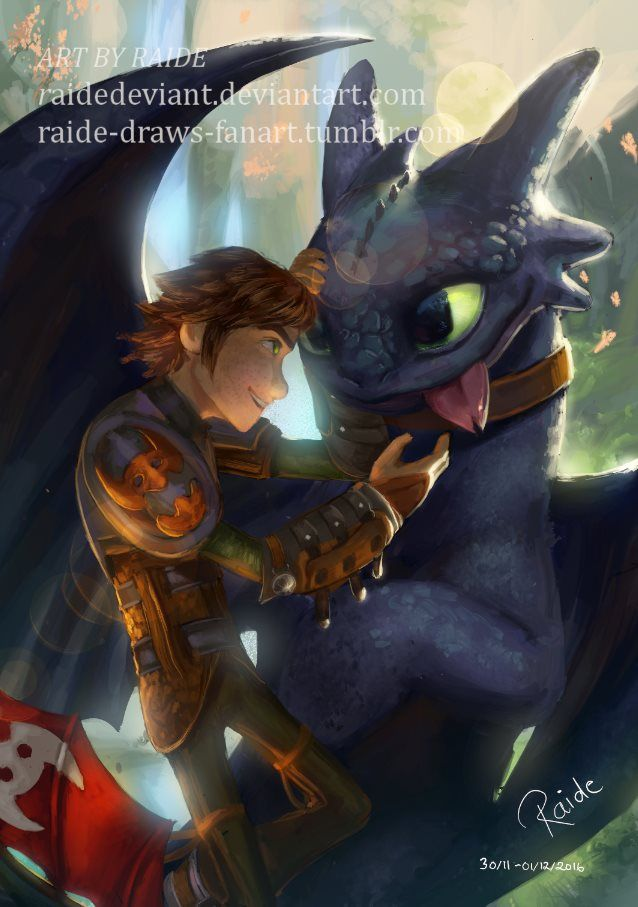 Hiccup and Toothless by RaideDeviant.deviantart.com on @DeviantArt
