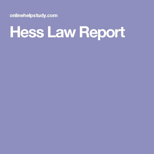 Hess Law Report