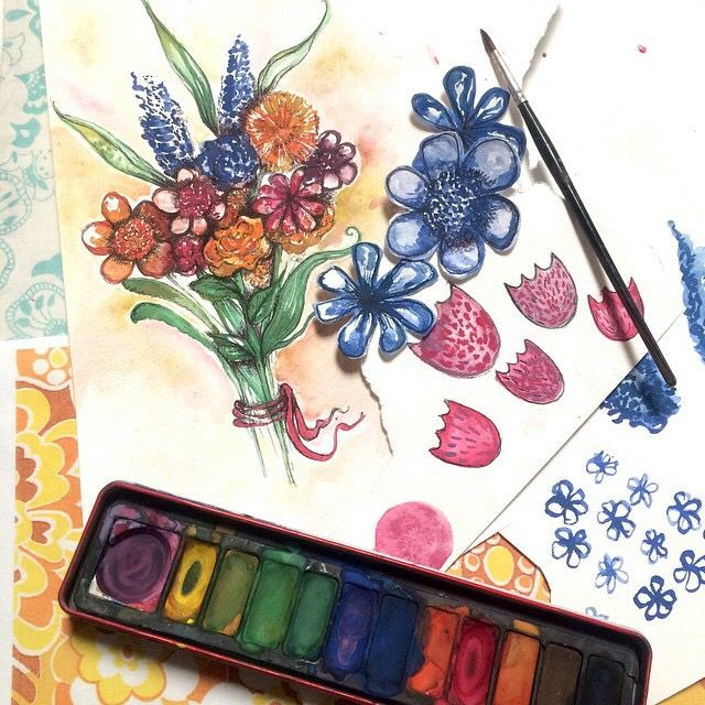 Loving the watercolour painting and flowers