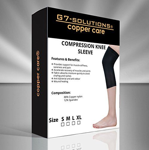 Compression Knee Sleeve Provides Support for Muscle Stiffness, Soreness and Pain, Arthritis Recovery and More - Copper Knee Sleeve Compression Fit - Comfortable Knee Brace- Anti-bacterial - Anti-odor - #copperfit