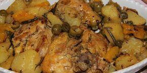 sovracosce di pollo in padella con patate, peperoni, olive e capperi