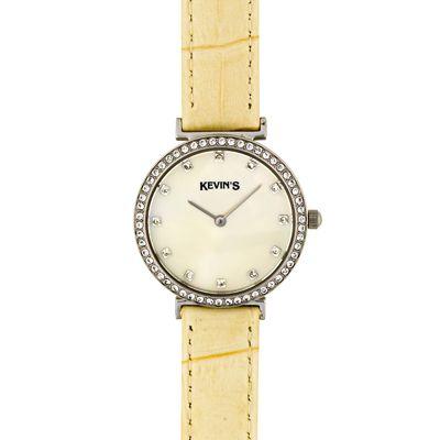 Reloj para Dama, tablero redondo, madreperla, puntos, analogo, pulso cuero beige