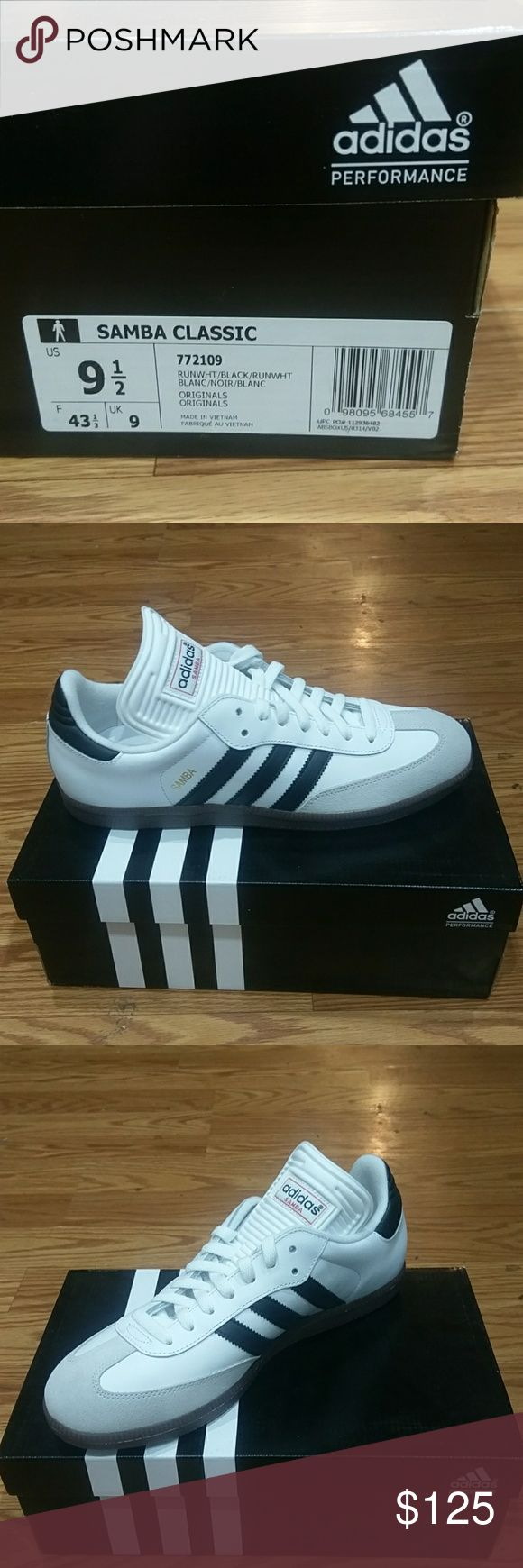 Samba Classic Run White Clean white with tan suede hits, dark brown sole for great contrast and pop. adidas Shoes Athletic Shoes
