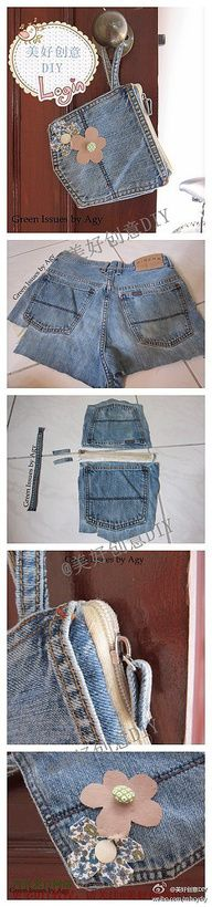 Pocket pouch...recycle an old pair of jean's pocket, add zipper and embellishments.  So cute.