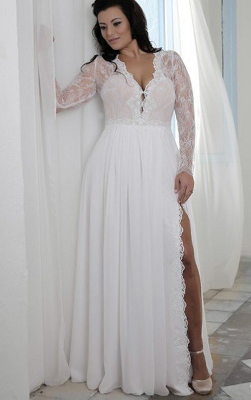 Prettiest 8 plus size summer wedding dresses sexy long for Summer wedding dresses with sleeves