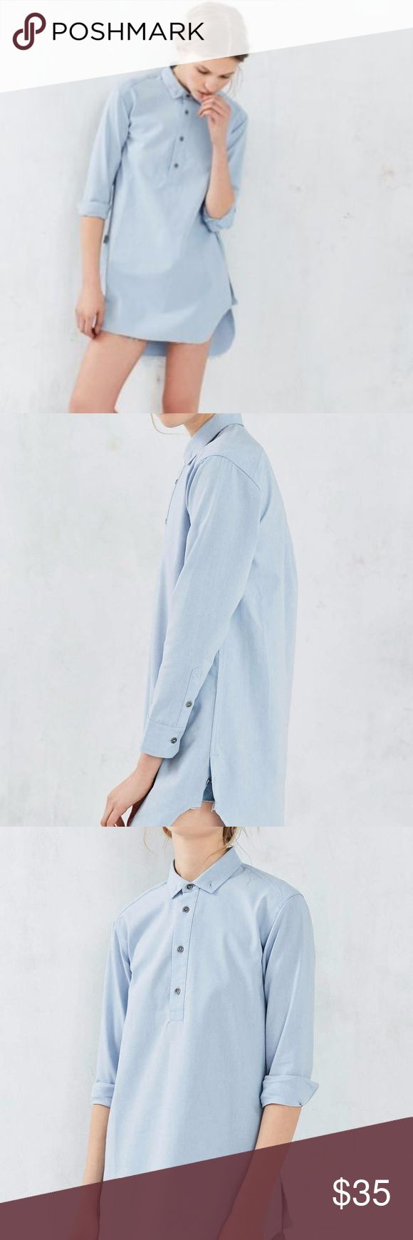 Publish Maggie Button-down Shirt Dress ● Stretch oxford long sleeve popover woven ● Scallop bottom hem with long back detail ● Button side split closure ● Distressed metal sew buttons ● Single back yoke pleat ● Raw single needle hem  Material:  55% Cotton, 40% Polyester, 5% Spandex Urban Outfitters Dresses Mini
