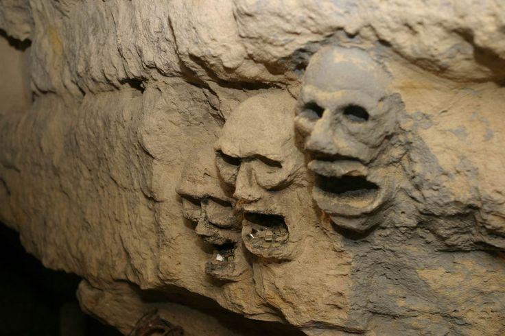 -inside of the Paris Catacombs.