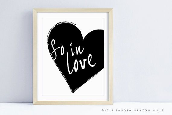 Printable Wall Art | So in Love  | Typographic Print | Wall Art Print #artprint #typographicprint