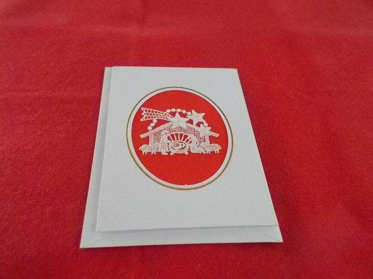 A Christmas Nativity scene Belgian Lace card