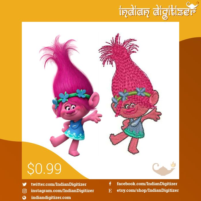 Hi I Am Poppy From The Movie Trolls You Can Find Me At Www Etsy Com Shop Indiandigitizer Embroider Your Favorite Dreamworks Trolls Character Troll