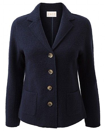 Classic Boiled Wool Blazer Add structure to your look with this wool blazer, it's perfect for wearing on cooler evenings. It features a V neck collar and 2 functioning pockets at the front. Wear with jeans and a printed bright top for a modern look.