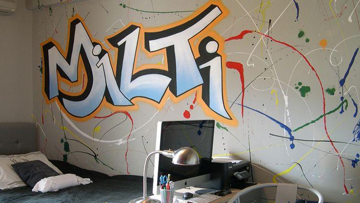 Mοναδική ζωγραφική τοίχου με αληθινό graffiti! Δείτε περισσότερες ιδέες διακόσμησης για το παιδικό ή εφηφικό δωμάτιο στη σελίδα μας  www.artease.gr