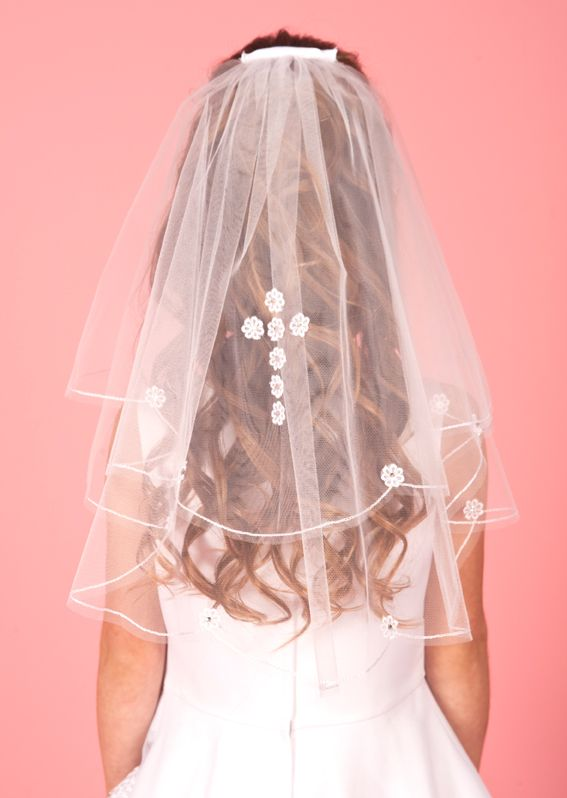 Daisy Cross Communion Veil - LA140