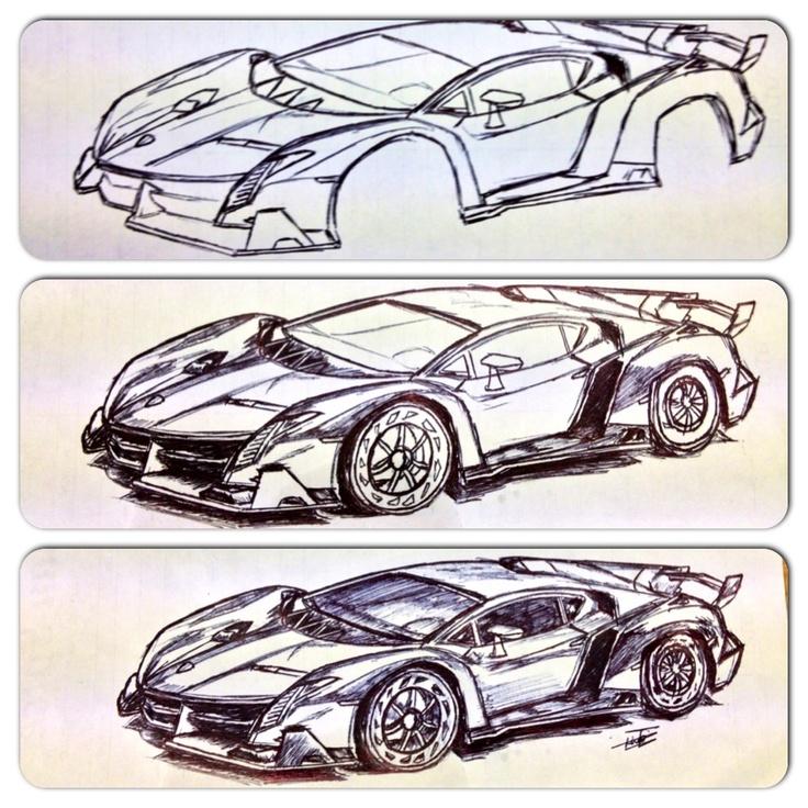 my attempt of drawing the lamborghini veneno  sketches e