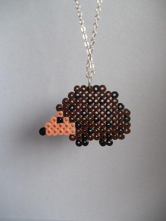 Hedgehog Mini Hama Bead necklace  by StreetStitchAndStuff