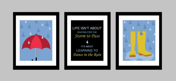 """Here we have a set of three original 8 x 10 glossy prints featuring designs by Kryder and the inspirational quote """"Life isn't about waiting for the storm to pass. It's about learning to dance in the rain."""" Adds a bright modern pop of colour to any room in the house!"""