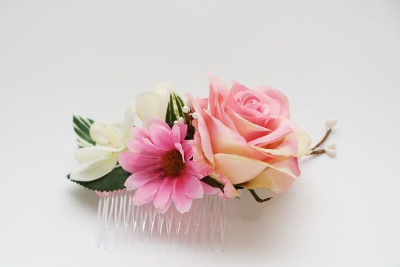 Hair Comb  Pretty sweet pink rose Pink daisy by AliceThorWeddings