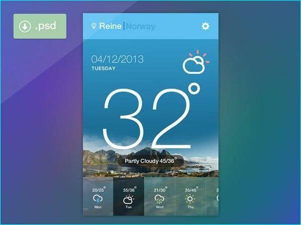 18 Free Weather Widget UI for Designer