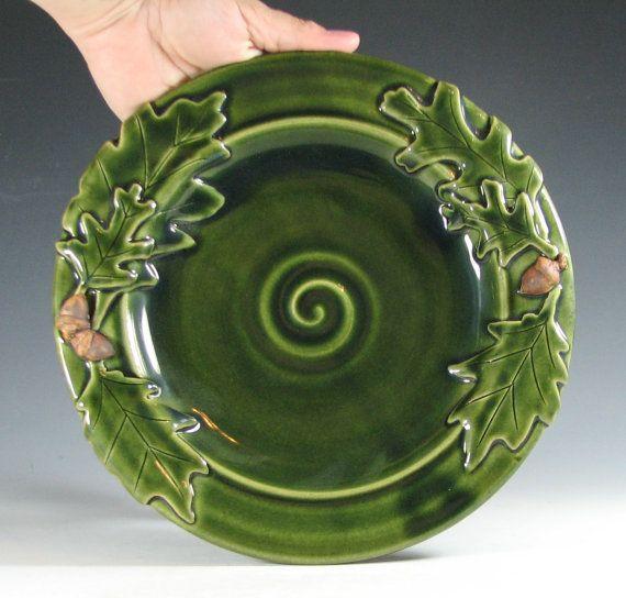 Handmade Ceramic Platter In Coastal Kitchen: Handmade Plate, Oak Leaf Acorn, Decorative Dish Stoneware