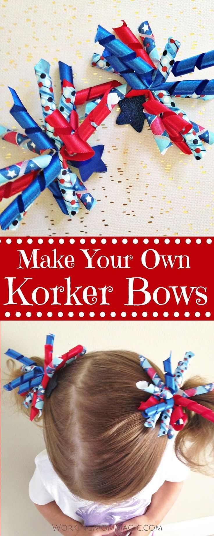 I love korker bows, especially in tiny toddler pigtails. You can create these adorable korker bows in just a few minutes, using almost any ribbon you want!