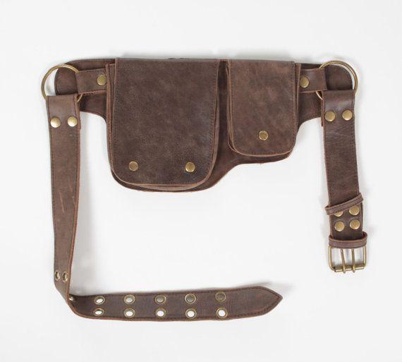Hip Pack cuir ceinture d'utilité Brown Bomber plus par WCCouture