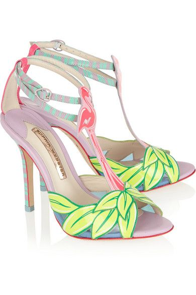Sophia WebsterSpring 2015 'Flamingo' patent leather sandals with four-inch heels