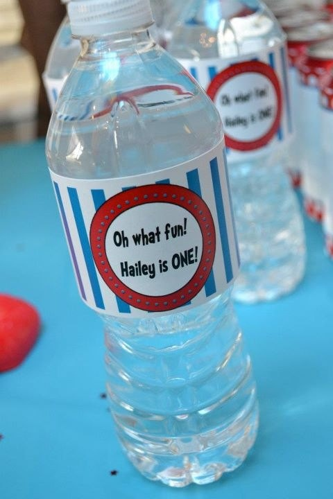 Dr Seuss Birthday Party Water Bottle Labels by pixels4parties, $2.75