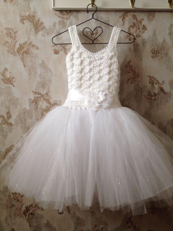 White Flower girl tutu dress, toddler flower girl dress, white ...