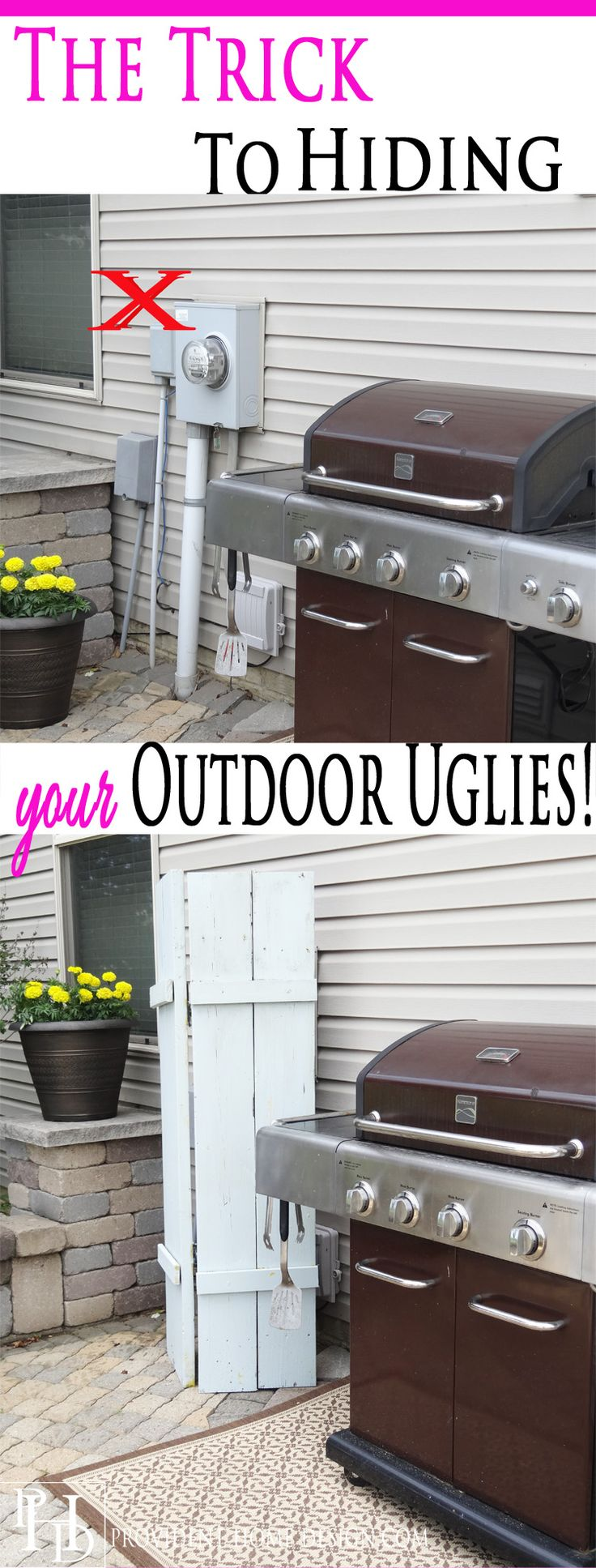 Ever wondered how to hide those ugly utility fIxtures on the outside of your house? Come find out how! It's the perfect, easy DIY solution!!