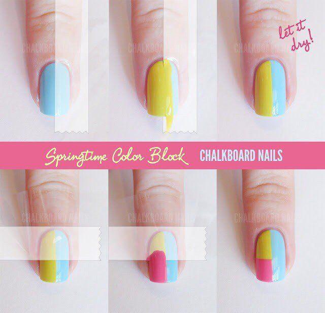 Pretty Color Block Nail Art Design