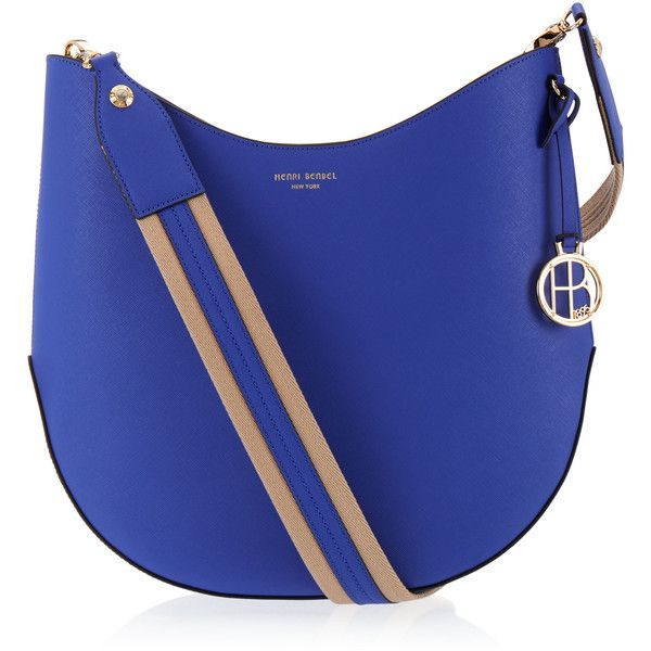 Henri Bendel West 57th Crossbody Hobo ($250) ❤ liked on Polyvore featuring bags, handbags, shoulder bags, blue, hobo handbags, crossbody hobo purse, blue shoulder bag, blue cross body purse and blue purse