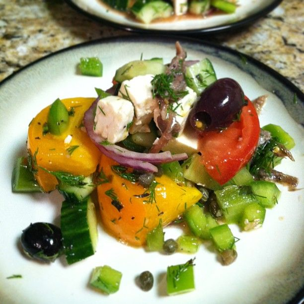 Milo's style Greek salad with kalamata olives, anchovies and bell peppers