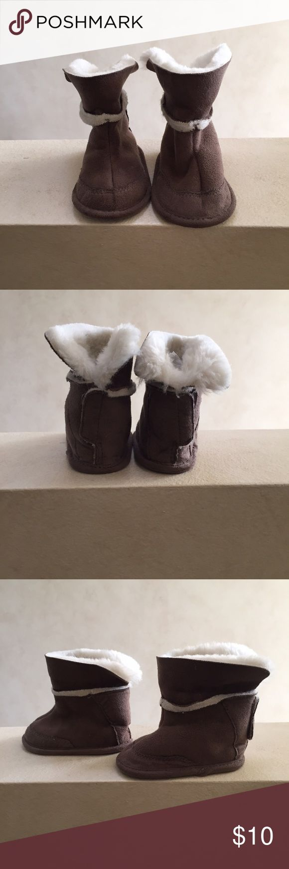 NWOT Baby Gap Boots New without tags. Fully lined furry faux suede booties with back Velcro closure - so cute! Bought these for a photo shoot but didn't end up using them. GAP Shoes Baby & Walker