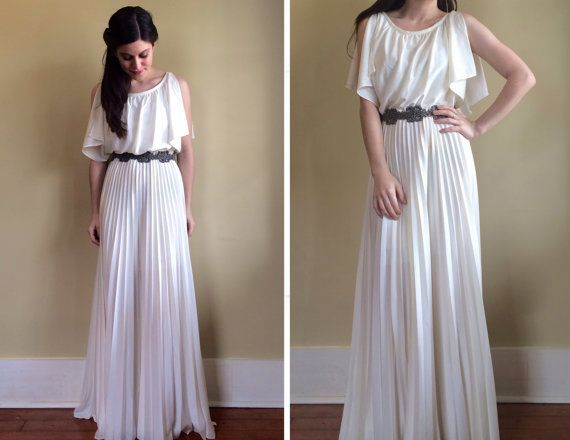 Vintage 70's Greek Goddess Wedding Dress with Pleated Maxi Skirt and Flowy Bodice